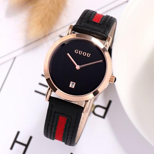นาฬิกา GUOU สายหนังคุณภาพดีสีดำแดง สวยหรูมาก