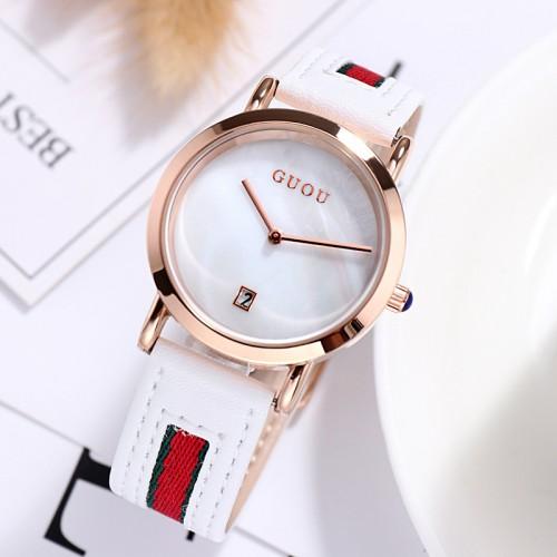 นาฬิกา GUOU สายหนังคุณภาพดีสีขาวแดง สวยหรูมาก