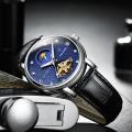 นาฬิกาออโต้ Tevise สายหนัง หน้าปัดสวยหรู สีน้ำเงิน
