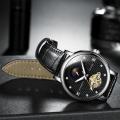 นาฬิกาออโต้ Tevise สายหนัง หน้าปัดสวยหรู สีดำ