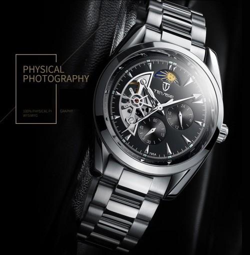 นาฬิกาออโต้ Tevise หน้าปัดสีดำขอบเงิน สวยหรูงานคุณภาพเยี่ยม