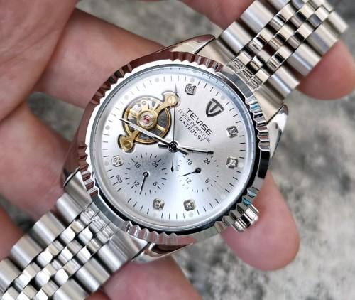 นาฬิกาออโต้ Tevise หน้าปัดสีเงินขอบเงิน ช่องโชว์กลไกสีทอง