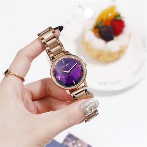 นาฬิกาแบรนด์ SANDA ดีไซน์สไตล์คริสตัล สีม่วงสวยหรู