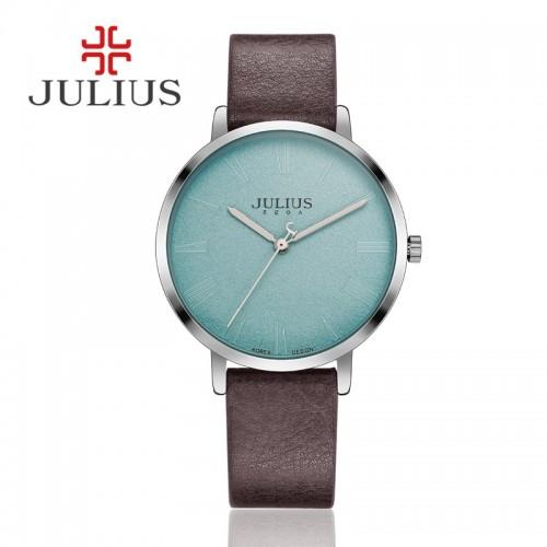 นาฬิกา Julius สายหนังสีน้ำตาล พื้นหน้าปัดสีฟ้าอ่อนลายสวยคลาสสิค
