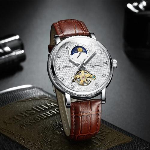 นาฬิกาออโต้ Tevise สายหนัง หน้าปัดสวยหรู สีขาว