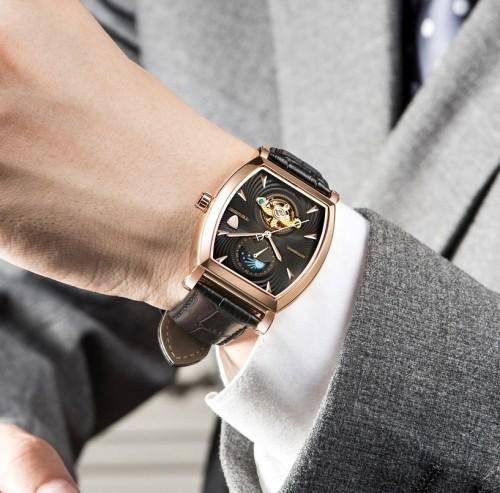 นาฬิกาออโต้ Tevise สายหนัง ตัวเรือนทรงออกเหลี่ยม สีดำขอบโรสโกลด์