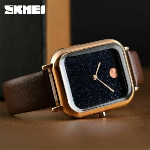 นาฬิกา SKMEI ทรงเหลี่ยมเรียบหรู สายหนังสีน้ำตาล