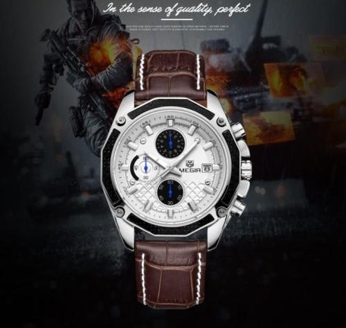 นาฬิกา MEGIR สายหนังแท้สีน้ำตาล หน้าปัดขาว สวยเท่ห์สุดๆ
