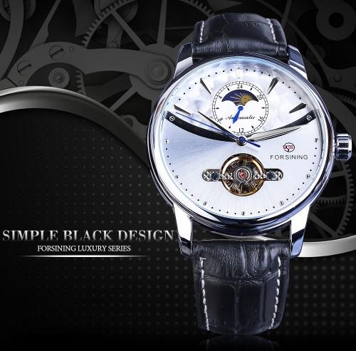นาฬิกาออโต้แบรนด์ Forsining สายหนัง หน้าปัดสีเงินสวยหรู