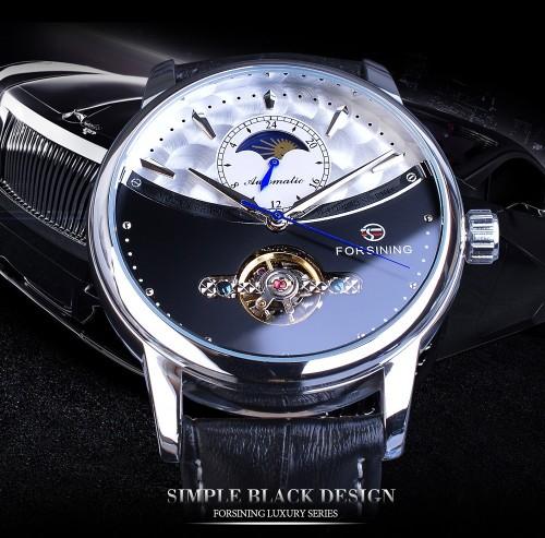 นาฬิกาออโต้แบรนด์ Forsining สายหนัง หน้าปัดสีดำสวยหรู