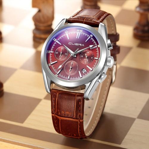 นาฬิกาสายหนัง CUENA หน้าปัดสีแดง กระจกสะท้อนแสงสีฟ้า สวยหรู