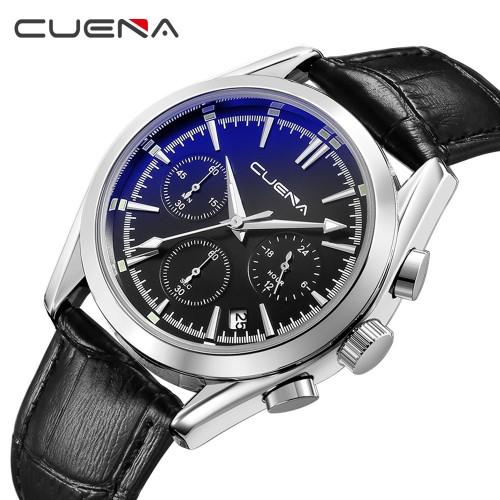 นาฬิกาสายหนัง CUENA หน้าปัดสีดำ กระจกสะท้อนแสงสีฟ้า สวยหรู