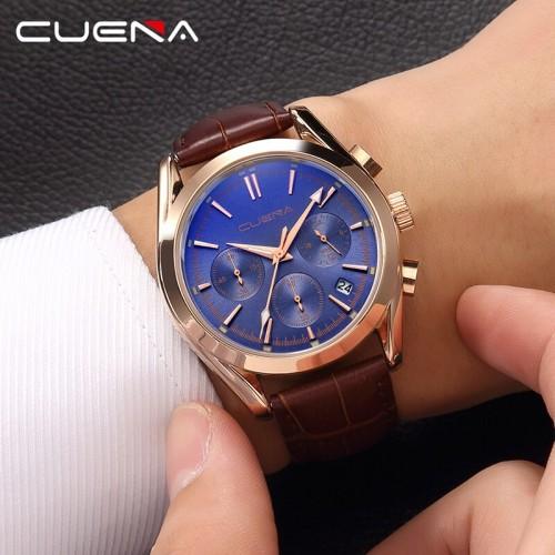 นาฬิกาสายหนัง CUENA หน้าปัดสีน้ำเงินม่วง กระจกสะท้อนแสงสีฟ้า สวยหรู