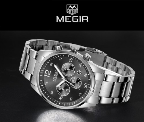 นาฬิกา MEGIR คุณภาพดีหน้าปัดดำ สายสแตนเลส เรียบหรู