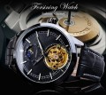 นาฬิกาออโต้ Forsining สายหนัง หน้าปัดสีดำสุดหรู