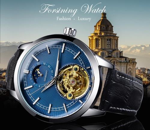 นาฬิกาออโต้ Forsining สายหนัง หน้าปัดสีน้ำเงินสุดหรู