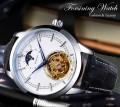 นาฬิกาออโต้ Forsining สายหนัง หน้าปัดสีขาวสุดหรู