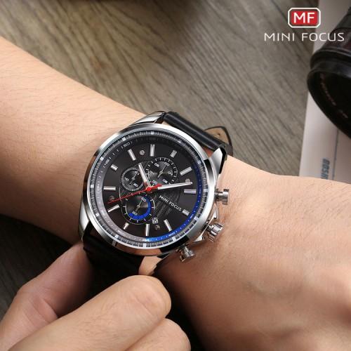 นาฬิกา Mini Focus หน้าปัดดำตัดน้ำเงิน สวยคุณภาพเยี่ยม