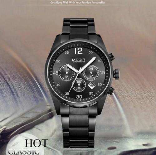นาฬิกา MEGIR คุณภาพดีสีดำ สายสแตนเลส เรียบหรู