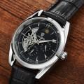 นาฬิกาออโต้ Tevise สายหนัง หน้าปัดสีดำขอบเงิน สวยหรู