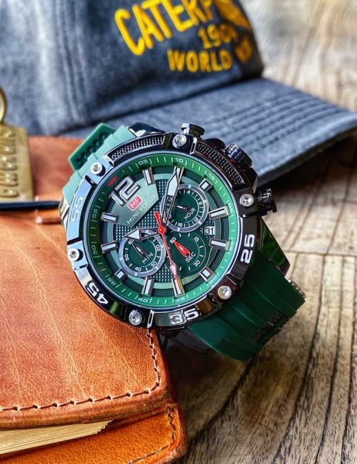 นาฬิกา Mini Focus รุ่นสายยางสุดเท่ห์ สีเขียวเข้มสวยงาม
