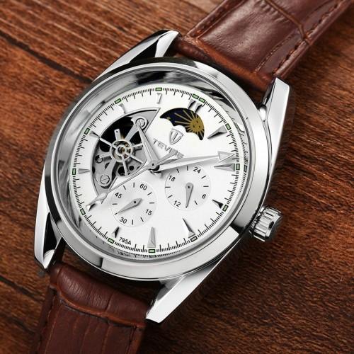 นาฬิกาออโต้ Tevise สายหนัง หน้าปัดขาวขอบเงิน สวยหรู