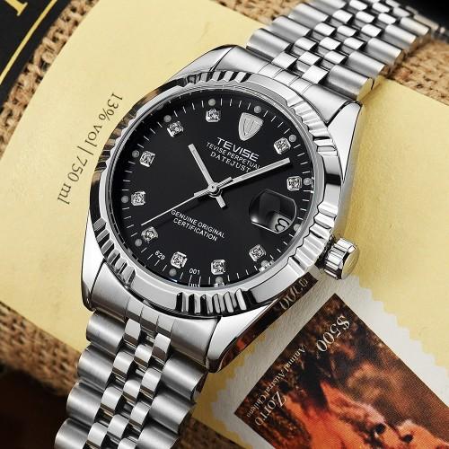 นาฬิกาออโต้ แบรนด์ Tevise สุดหรู ในหน้าปัดสีดำ