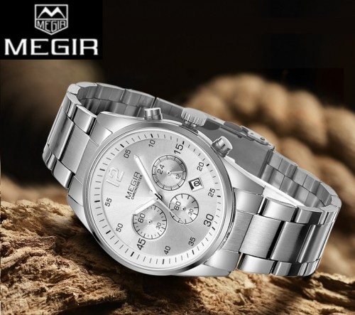 นาฬิกา MEGIR คุณภาพดีสีเงิน สายสแตนเลส เรียบหรู