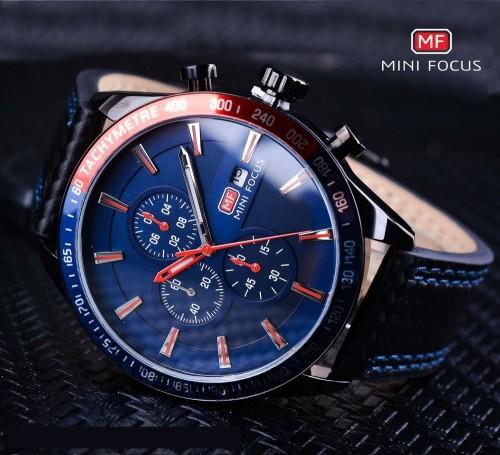 นาฬิกา Mini Focus หน้าปัดสีน้ำเงินตัดแดง ดีไซน์สปอร์ตสุดๆ
