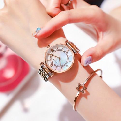 นาฬิกาแบรนด์ Daybird หน้าปัดประกายมุข วงล้อมเพชร สวยหวานมาก