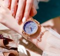 นาฬิกา Daybird พิงค์โกลด์ พื้นลายเม็ดทรายสีฟ้าคราม สวยมากๆ