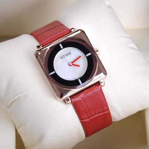 นาฬิกา GUOU สีแดงหน้าปัดเหลี่ยมขอบมน สวยโดดเด่นมาก
