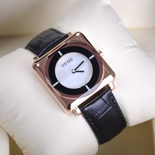 นาฬิกา GUOU สีดำหน้าปัดเหลี่ยมขอบมน สวยโดดเด่นมาก