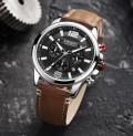 นาฬิกา MEGIR หน้าปัดดำสายหนังแท้สีน้ำตาล เท่ห์ หรูสุดๆ