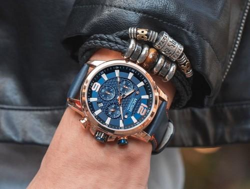 นาฬิกา MEGIR สายหนังแท้สีน้ำเงิน เท่ห์ หรูสุดๆ
