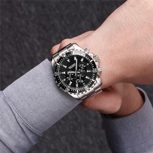 นาฬิกา MEGIR งานพรีเมียมหน้าปัดดำ สายสแตนเลส หรูสุดๆ