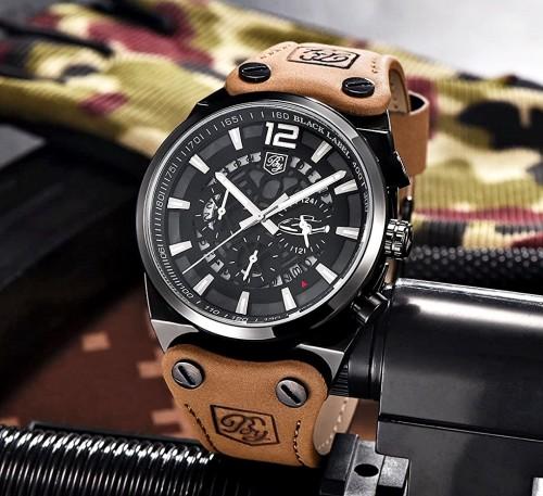 นาฬิกา BENYER สายหนังคุณภาพเยี่ยม หน้าปัดดำ ดีไซน์เท่ห์สุด