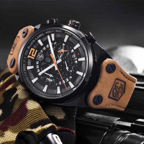 นาฬิกา BENYER สายหนังคุณภาพเยี่ยม หน้าปัดดำส้ม ดีไซน์เท่ห์สุด