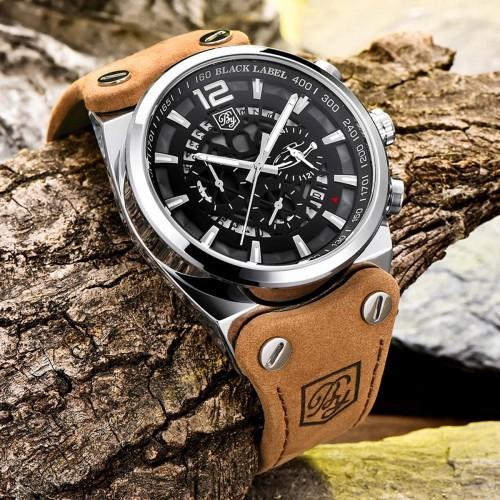 นาฬิกา BENYER สายหนังคุณภาพเยี่ยม หน้าปัดดำขอบเงิน ดีไซน์เท่ห์สุด