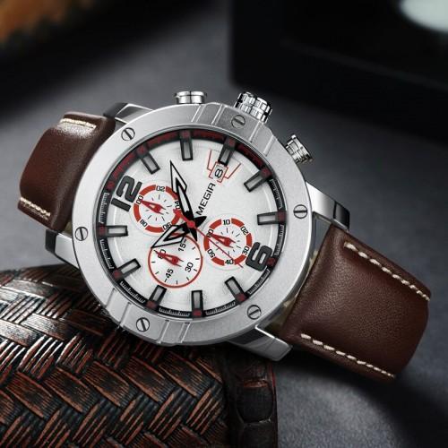 นาฬิกา MEGIR คุณภาพดี หน้าปัดขาวเงิน สายหนังแท้สีน้ำตาล