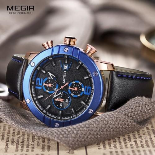 นาฬิกา MEGIR คุณภาพดี หน้าปัดดำตัดน้ำเงิน สายหนังแท้สีดำสวยงาม