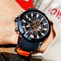 นาฬิกา Mini Focus เรือนใหญ่สีส้มดำสวยเท่ห์ สายยางคุณภาพพรีเมียม
