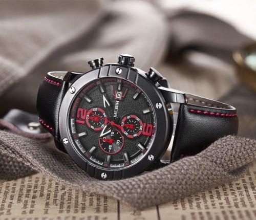 นาฬิกา MEGIR คุณภาพดี หน้าปัดดำตัดแดง สายหนังแท้สีดำสวยงาม