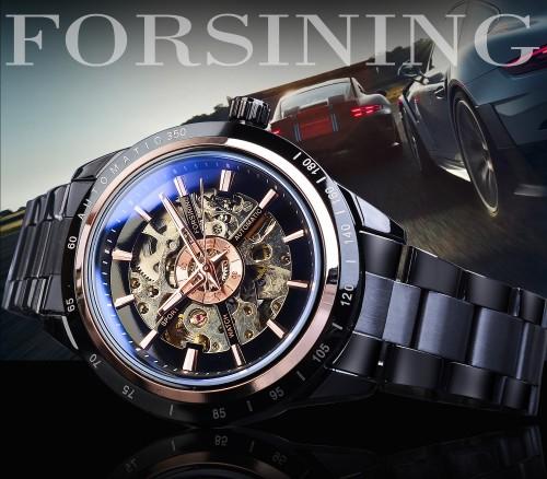นาฬิกาออโต้ Forsining เรือนสีดำสายสแตนเลส โชว์กลไลสวยงาม