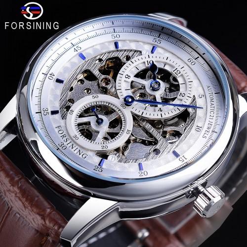 นาฬิกาออโต้แบรนด์ Forsining สายหนังน้ำตาล หน้าปัดโชว์กลไลสุดหรู