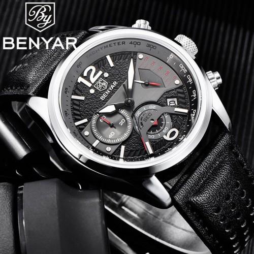 นาฬิกา BENYER สายหนัง สไตล์สปอร์ตเท่ห์มาก สีดำ