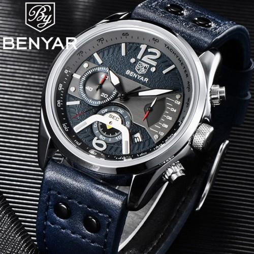 นาฬิกา BENYER สายหนัง สไตล์สปอร์ตเท่ห์มาก สีน้ำเงิน