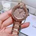 นาฬิกาคุณภาพ สีพิงค์โกลด์ประทับเม็ดเพชรเต็มเรือน สวยงาม