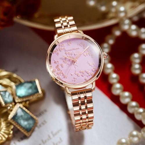 นาฬิกา Daybird หน้าปัดสีชมพูสุดหรู พื้นลวดลายใบไม้สวยมาก