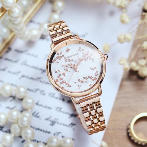 นาฬิกา Daybird หน้าปัดสีขาวสุดหรู พื้นลวดลายใบไม้สวยมาก